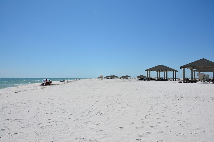 Opal Beach white sand beach with covered picnic areas