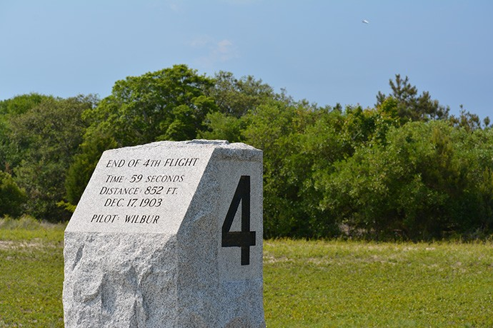 Aircraft flying over the marker for Flight 4