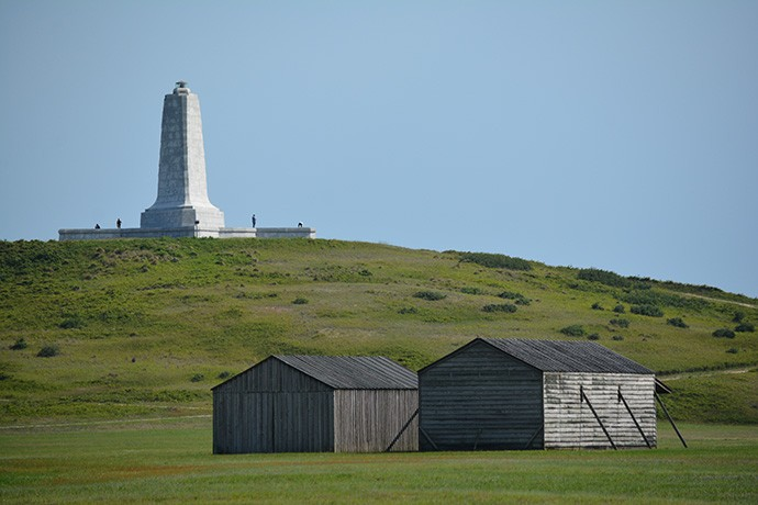 Kill Devil Hill and replica cabins
