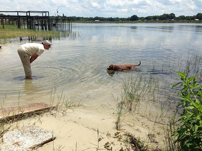 Playing with Chigger at Lake Kerr