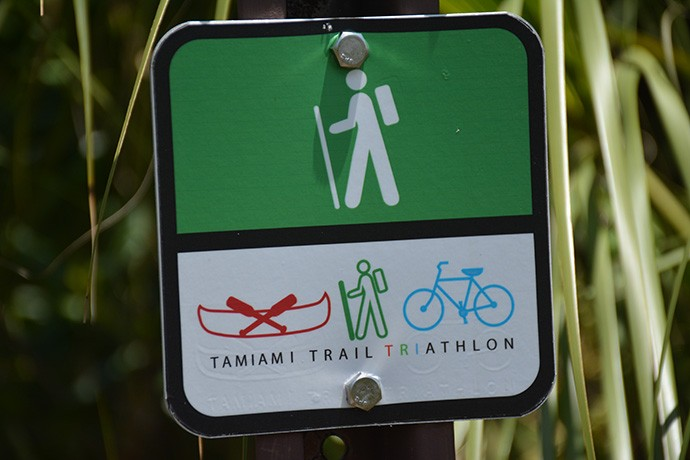 The Triathlon signage in Big Cypress
