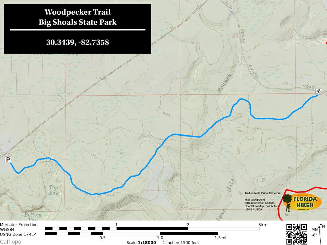 Big Shoals WOODPECKER Trail map