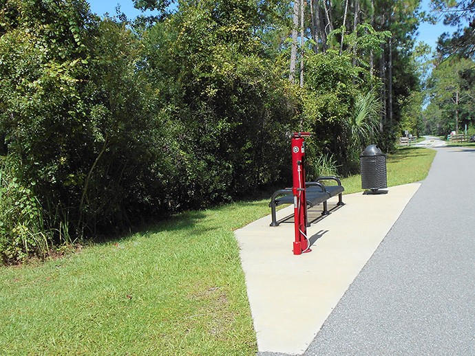 Bike repair station along the ECRRT