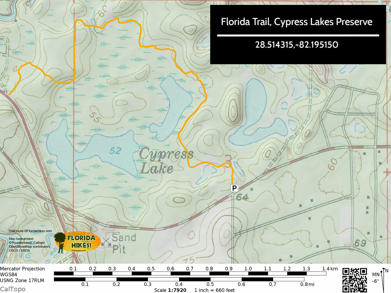 Florida Trail Cypress Lakes Preserve Trail Map