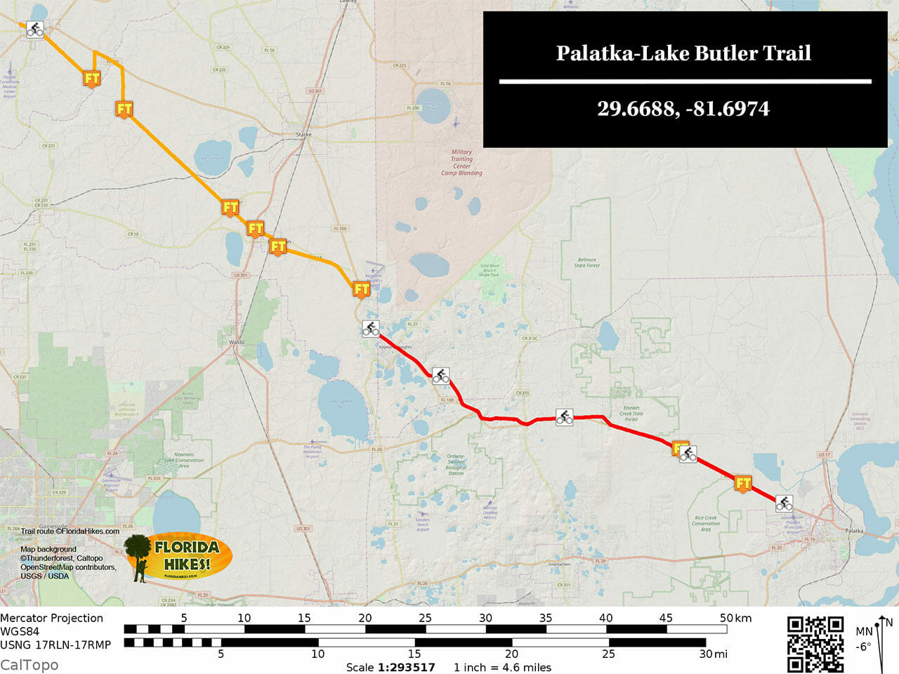 Palatka-Lake Butler Trail map