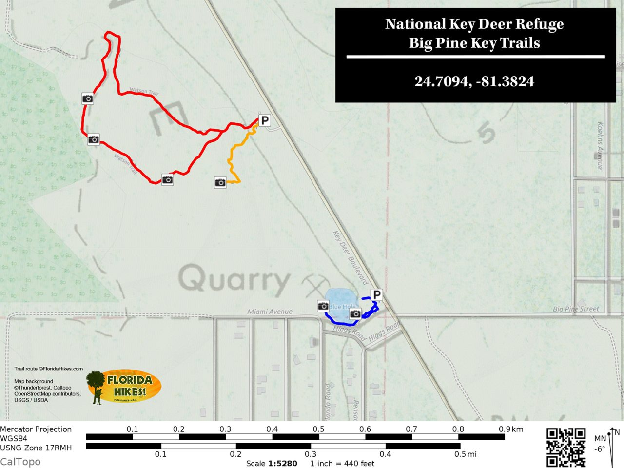 National Key Deer Big Pine Key Trail Map