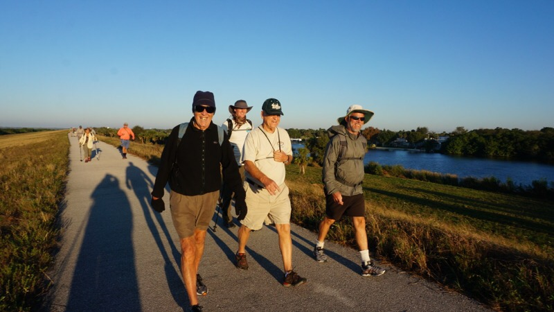 Hikers walking with a tailwind