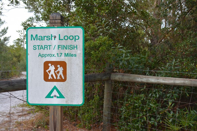 Sign at the start of the Marsh Loop