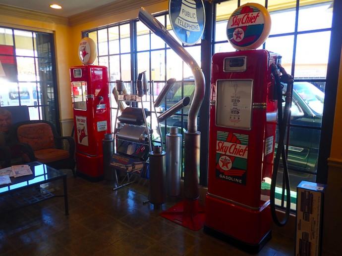 Gleaming gas pumps at Historic Lake City Auto