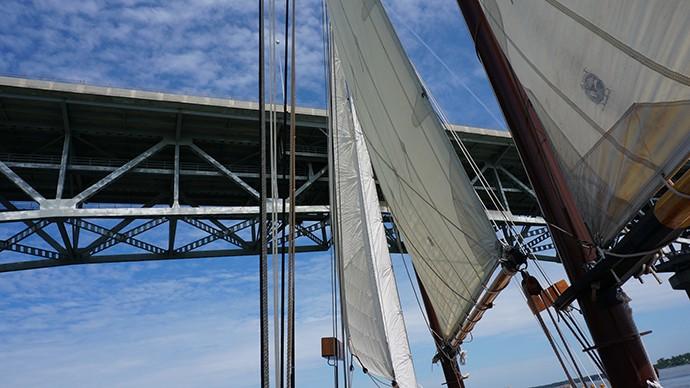 Sailing beneath the George P. Coleman Memorial Bridge