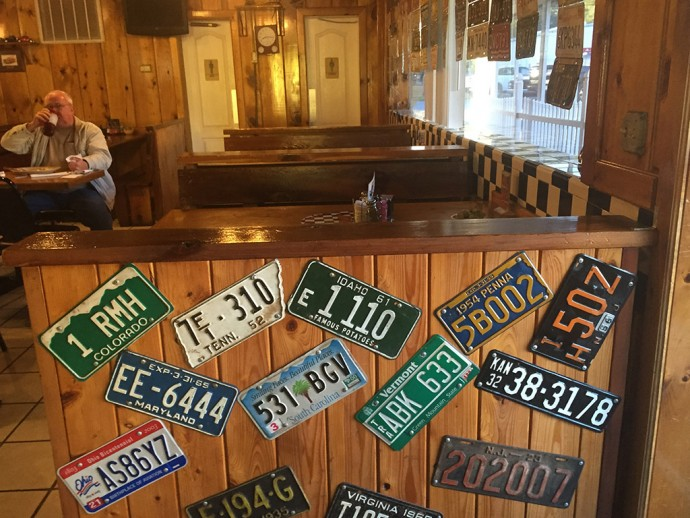 license plates on display at Shirley's Restaurant