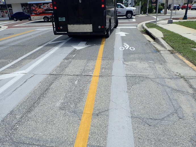 UPS truck in bike lanes
