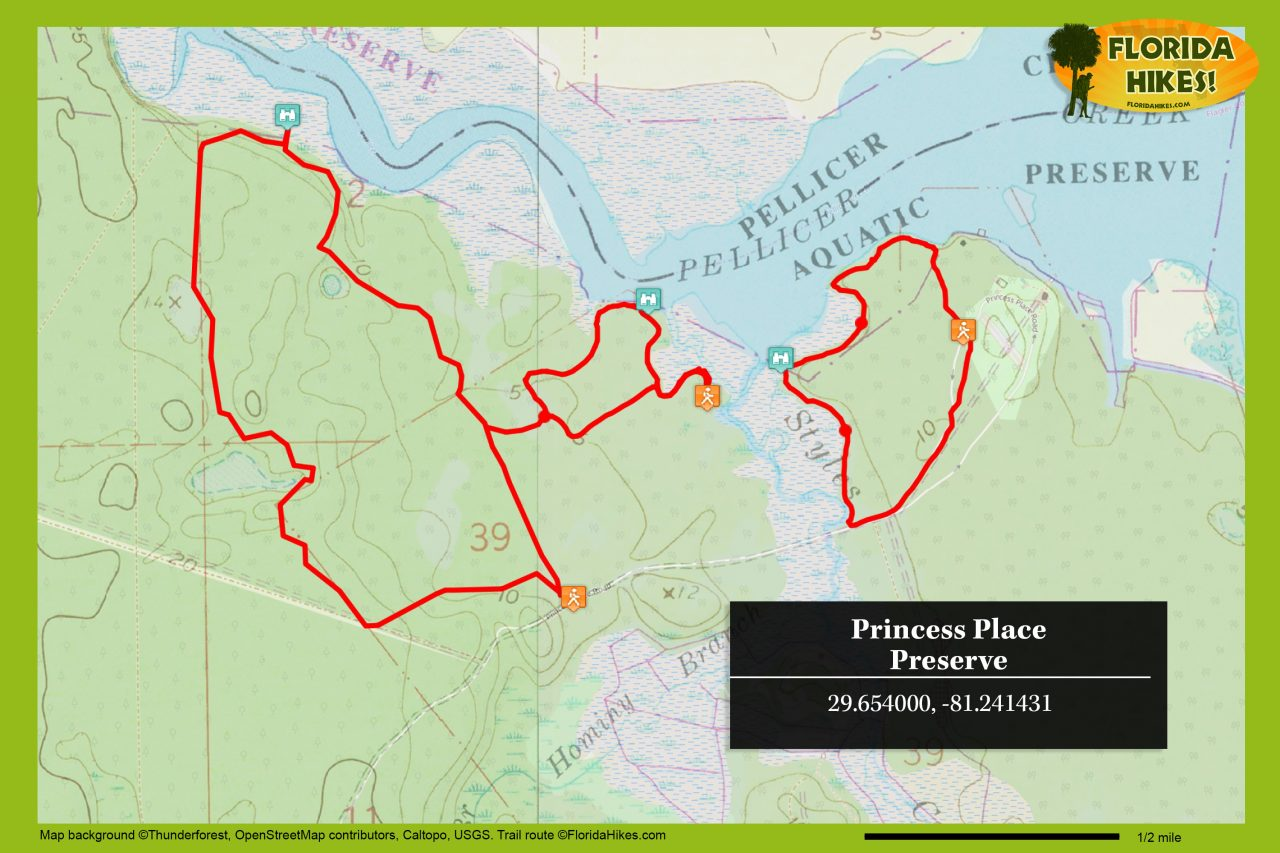 Princess Place Preserve trail map