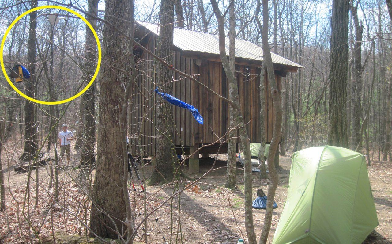 Bear bags Hawk Mountain Shelter