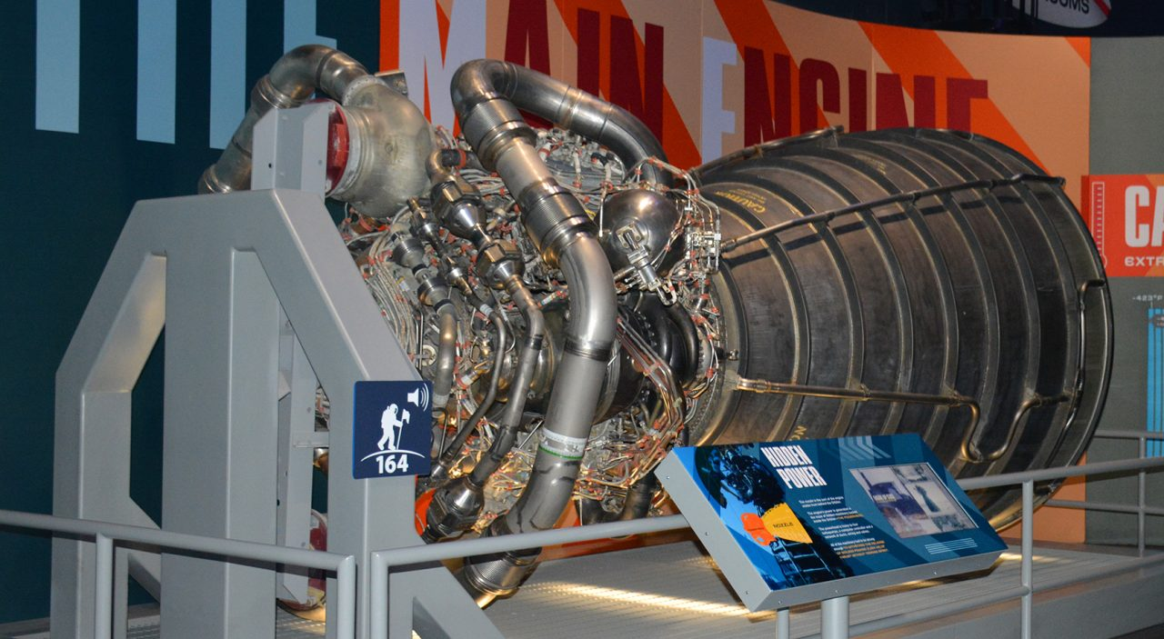 A Space Shuttle engine on exhibit