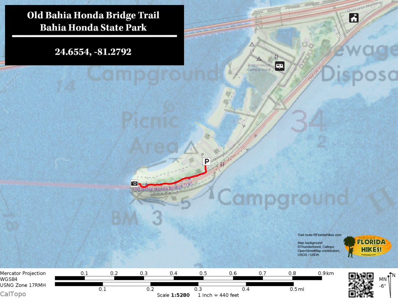 Old Bahia Honda Bridge Trail Map