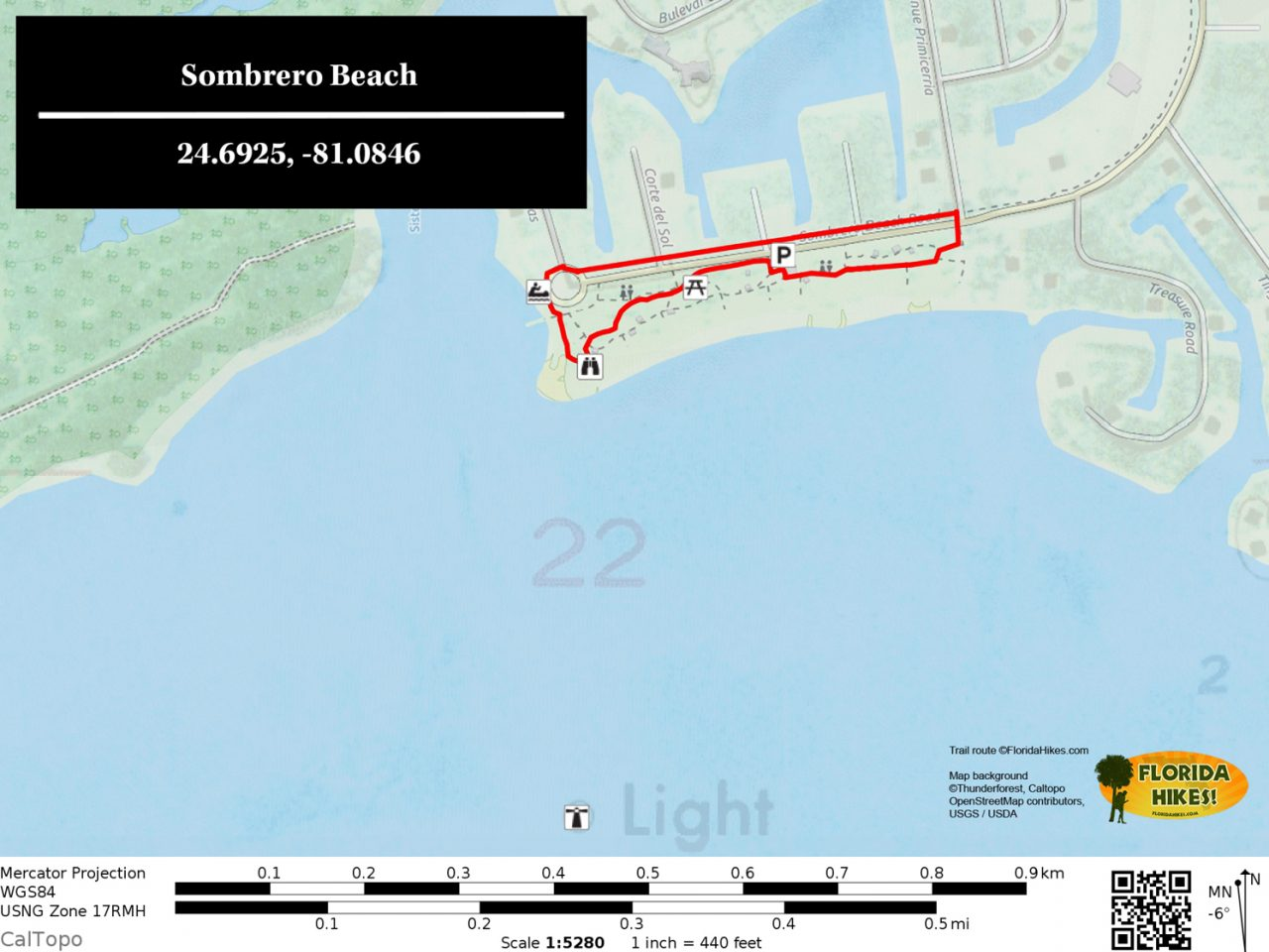 Sombrero Beach park map