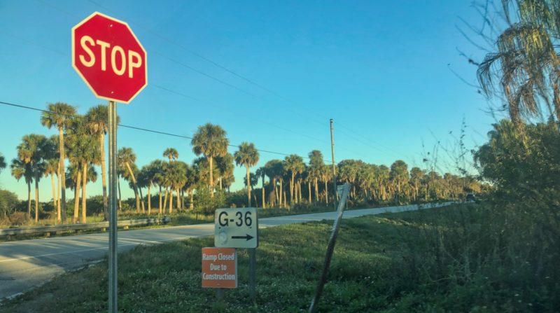 Ramp closure signage at Henry Creek