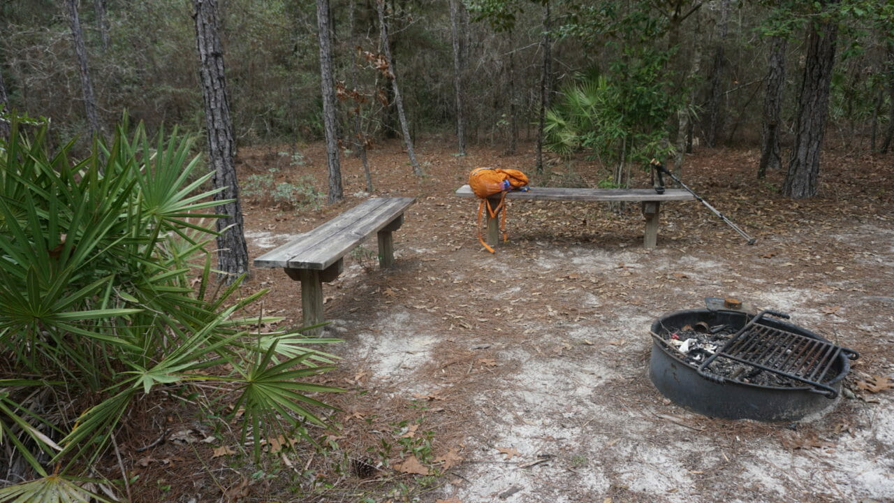 Florida Trail Nokuse Forgotten Creek campsite
