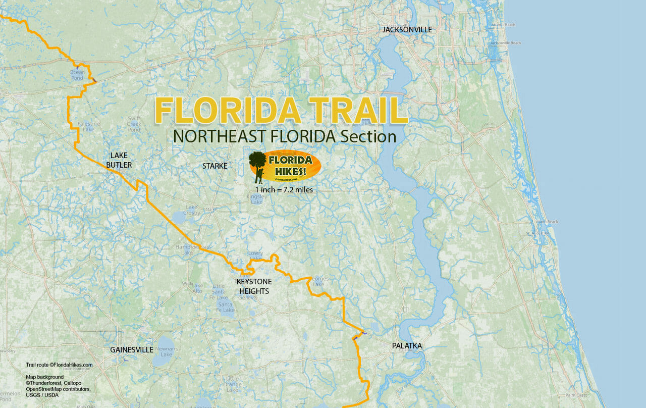 Florida Trail Northeast Florida map