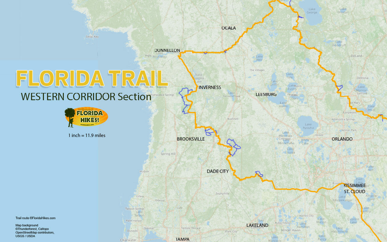Florida Trail Western Corridor section map