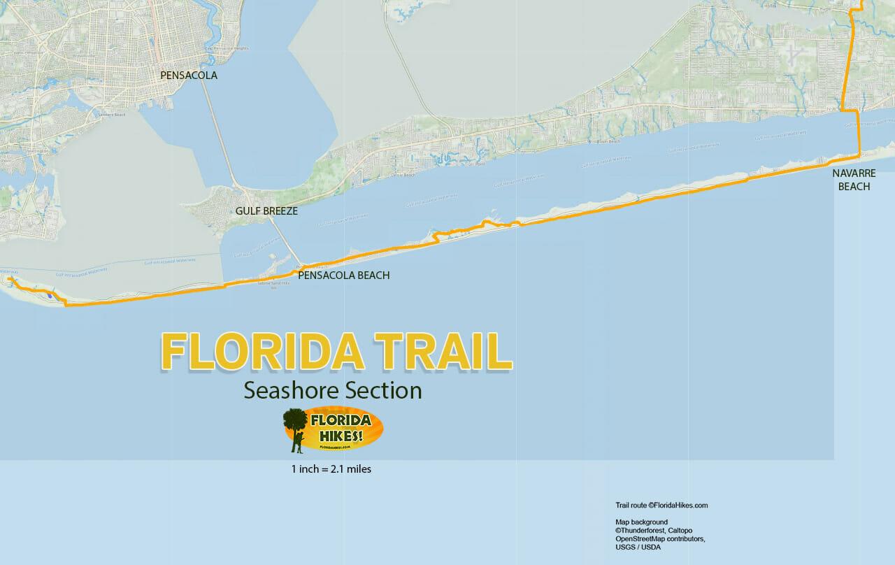 Florida Trail Seashore section map