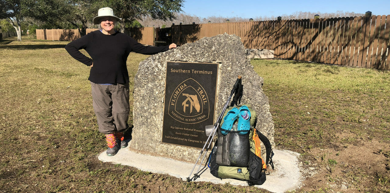Sandra and her gear at Southern Terminus