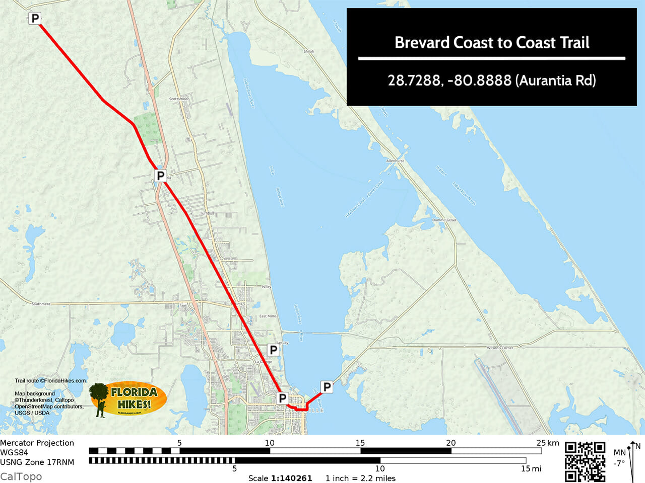 Brevard Coast to Coast Trail map