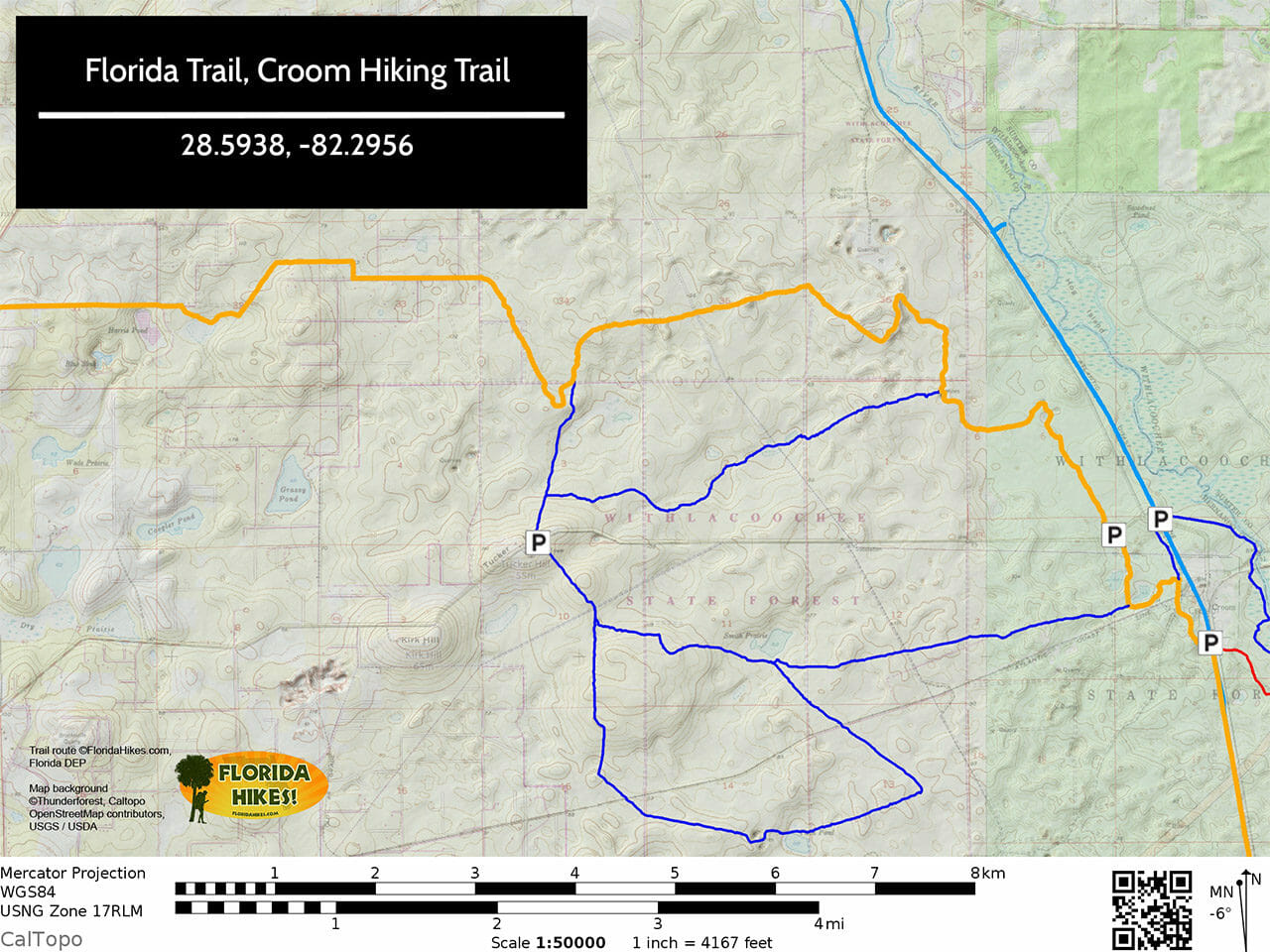 FT Croom Hiking Trail map