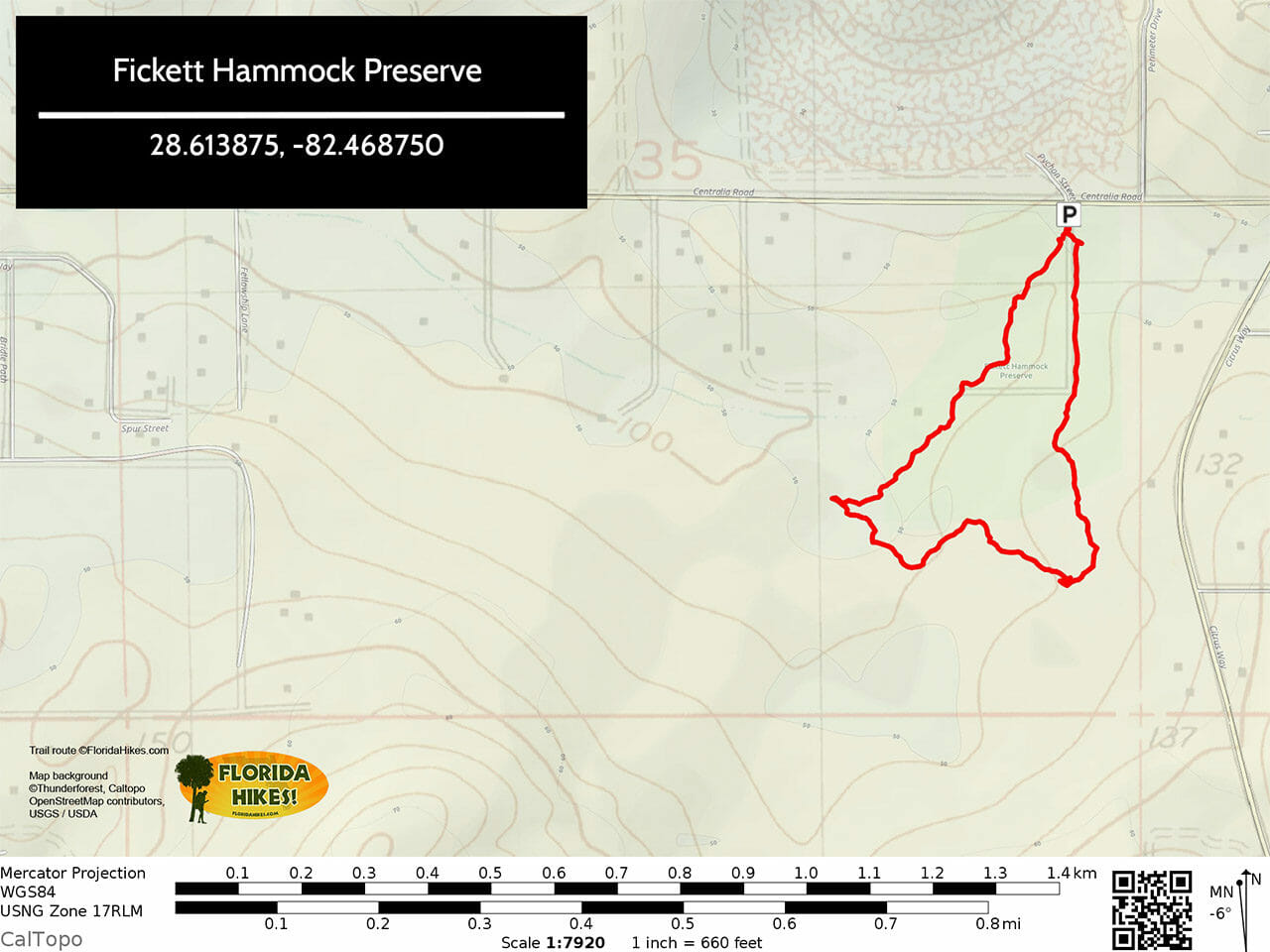 Fickett Hammock Preserve Trail Map