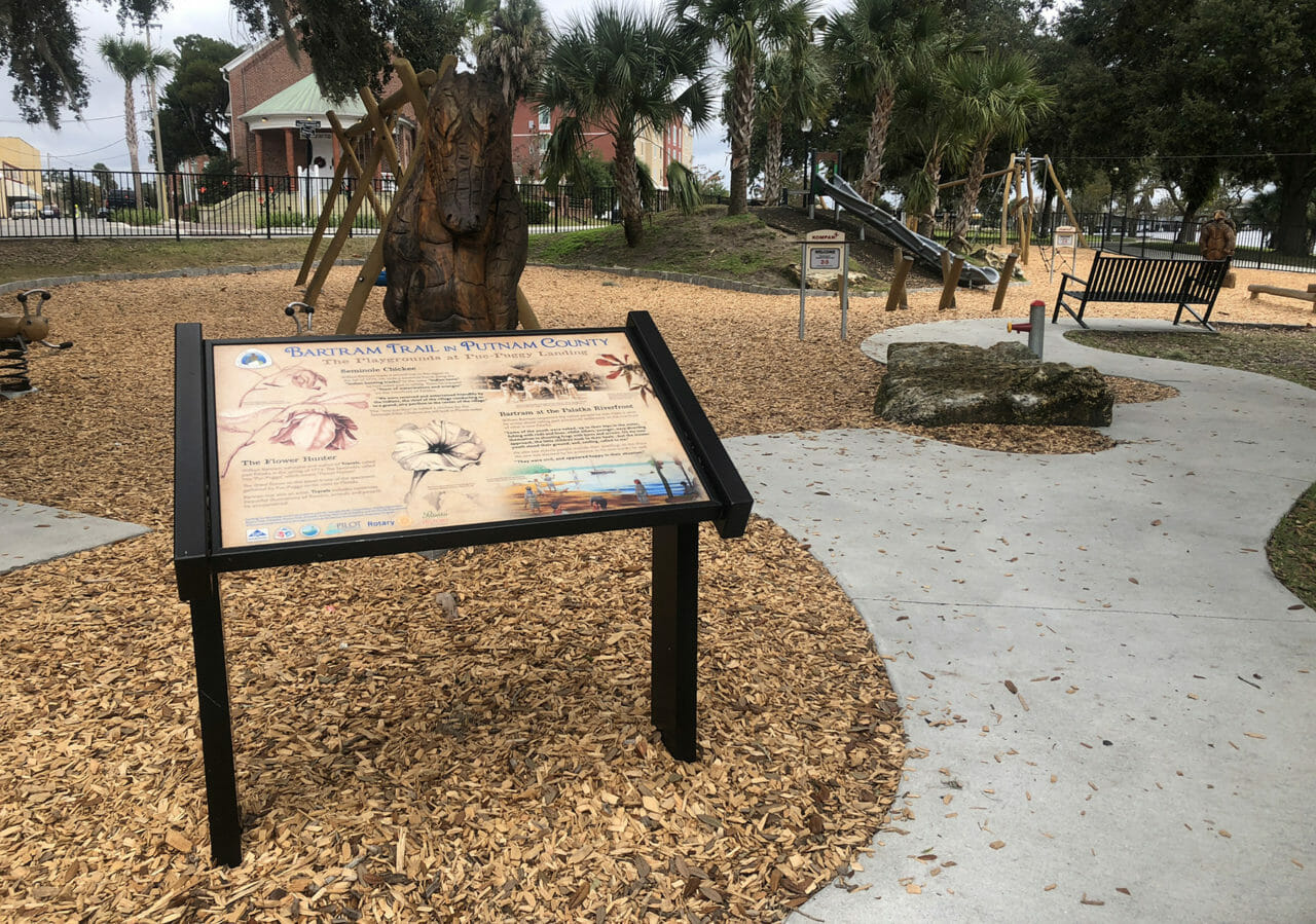 Nature-themed playground in Riverfront Park