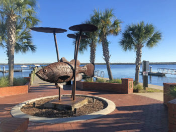 Bartram's Bass sculpture in Riverfront Park, Palatka