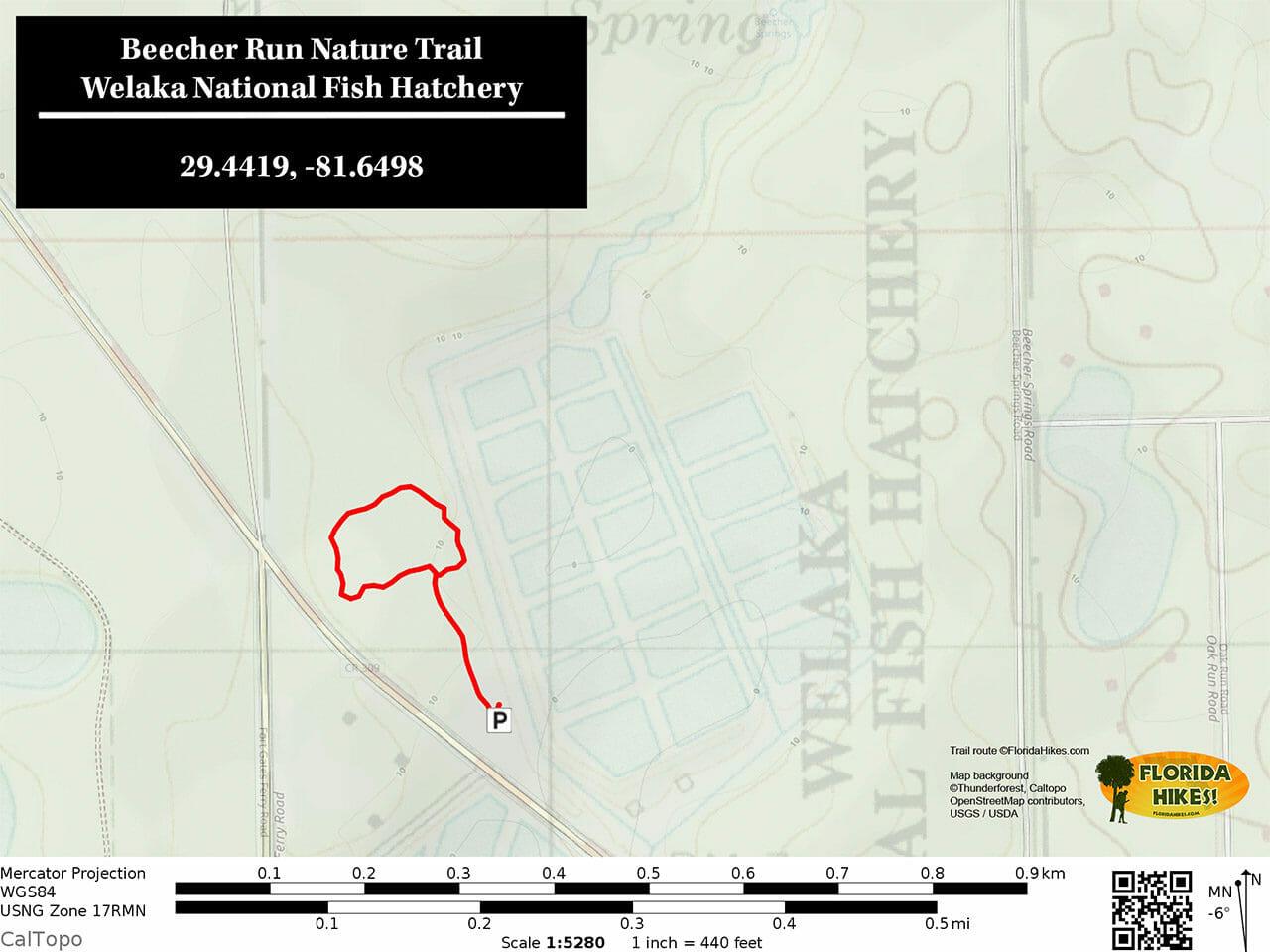 Beecher Run Nature Trail map