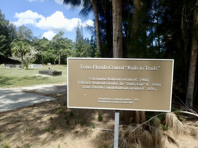 Trans-Florida Central Railroad Trail signage