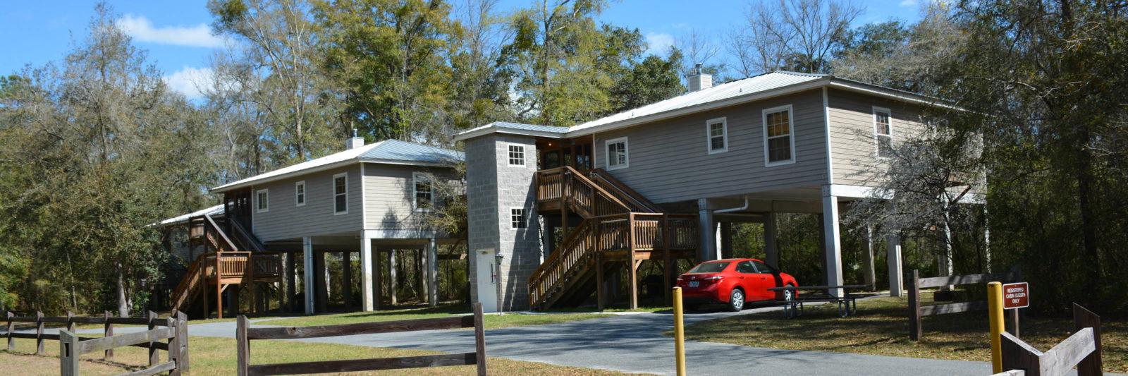 stilt cabins at Lafayette Blue Spring