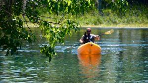 Rainbow River paddler at Blue Run
