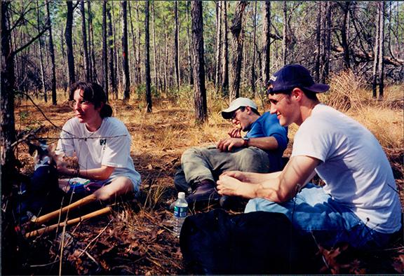 Trail crew taking a break, 1999