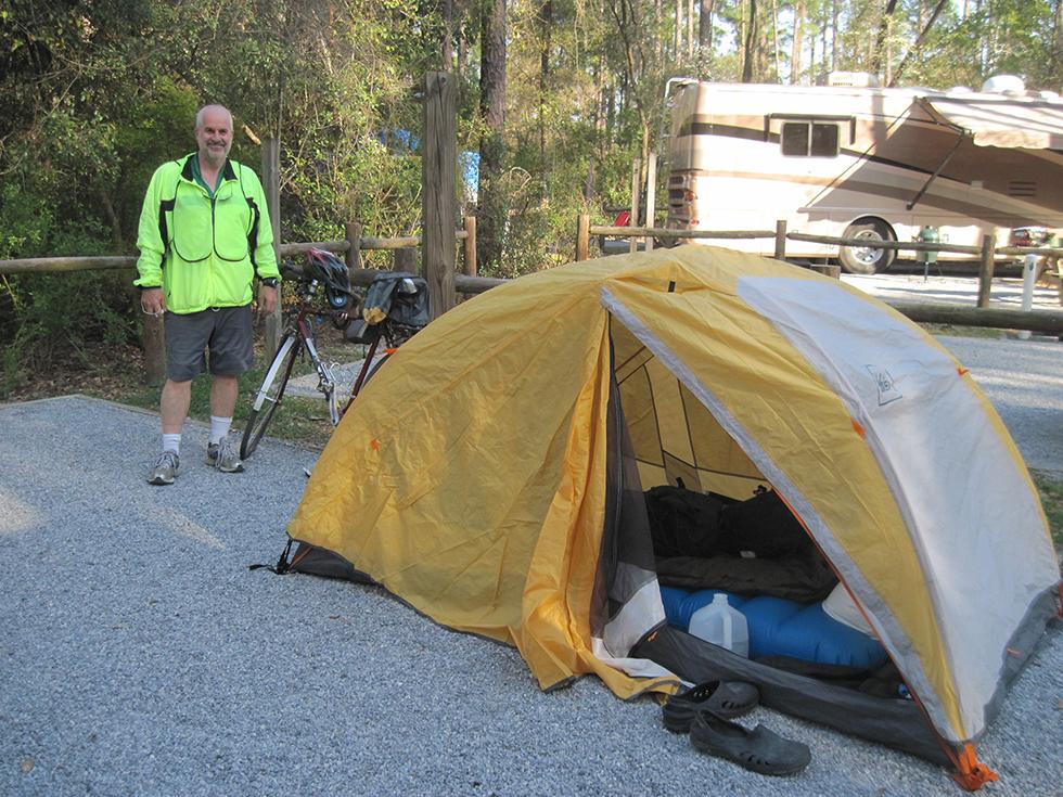 Tony and his bike touring tent