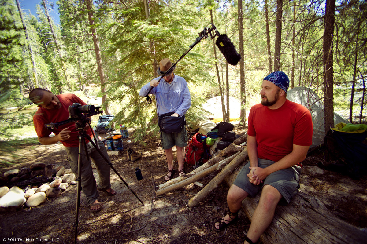 The crew at work while hiking the John Muir Trail (Jen Serena)