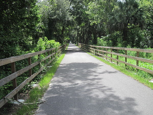 Heading down the bike path