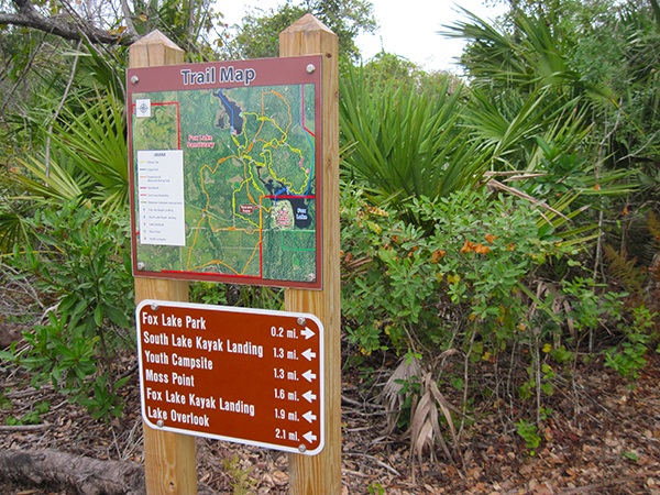 One of the main trail signs at intersections