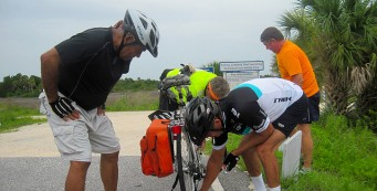 How many cyclists does it take to fix a flat?