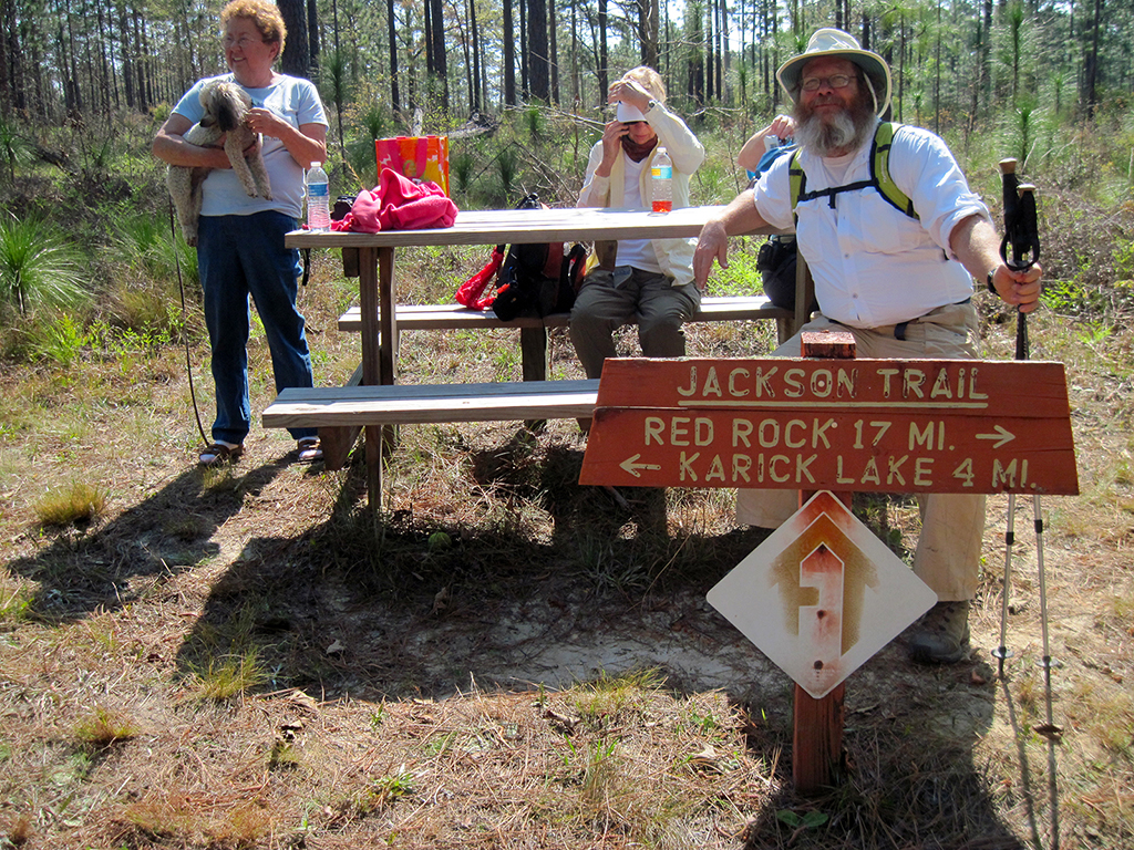 Mary Pat's Crossing, in honor of an old friend, at the junction of Jackson and Wiregrass Trails.