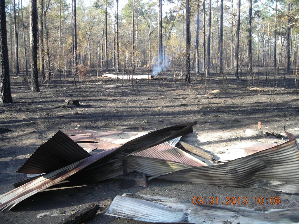 Shelter burned